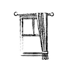 sketch windows with curtain elegance decoration vector image