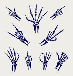 Skeleton hands signs on grey background vector