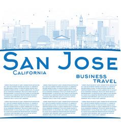 Outline san jose california skyline with blue vector