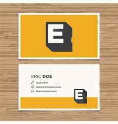 Business card letter e vector