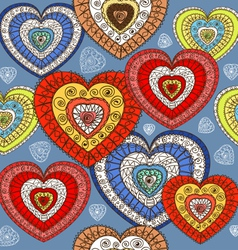 Ornamented color hearts seamless background vector