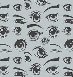 Anime style eyes seamless pattern vector