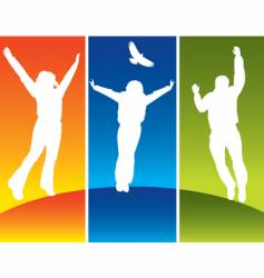 people jump vector image