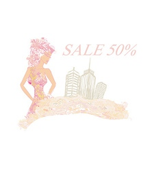 Fashion girl shopping - summer shopping sale vector
