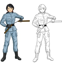 Asian nunchuck girl in military uniform vector
