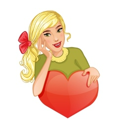 Cute cartoon blond girl holds red heart eps10 vector