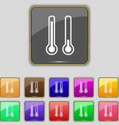 Thermometer temperature icon sign set with eleven vector