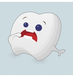 Scared tooth cartoon vector