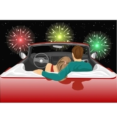 Couple sitting in red convertible car vector