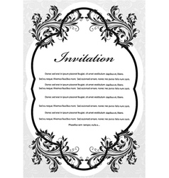 vintage invitation with floral vector image