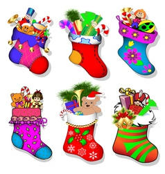 A set of socks with gifts for chri vector