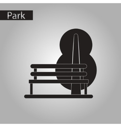Black and white style icon bench tree vector