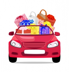 car with gifts vector image