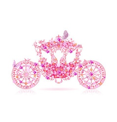 carriage floral pink vector image vector image