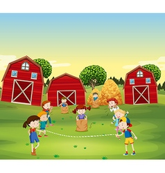 Children playing game in the field vector