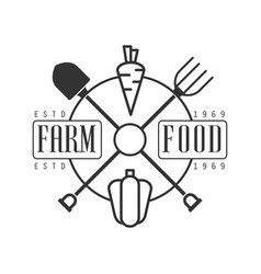 farm food estd 1969 logo black and white retro vector image