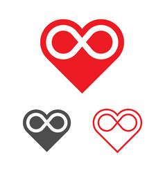 Forever love logo template heart infinity vector