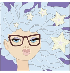 Girl with blue hair wearing glasses vector