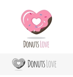 glossy heart donut logotype Sweets shop vector image vector image