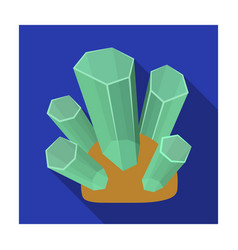green natural minerals icon in flat style isolated vector image