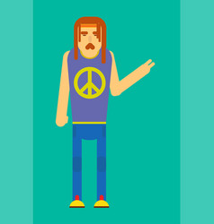 Hippie man gesturing peace vector