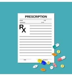 Prescription rx form and pills vector