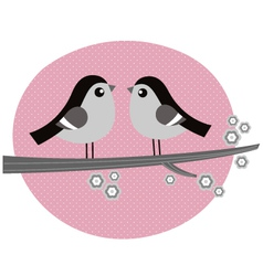 Retro Birds couple in love on pink background vector image vector image