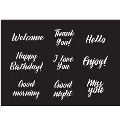 Set of positive inscriptions and phrases Greeting vector image