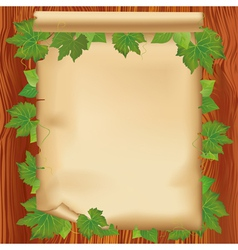 Sheet of paper on wooden board with leaf vector image