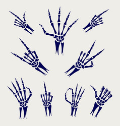 Skeleton hands signs on grey background vector