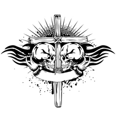 skulls cross tribal vector image