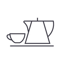tea cup and kettle line icon sign vector image