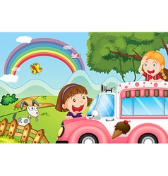 The pink icecream bus and the two happy girls vector image