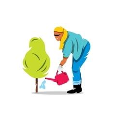 Woman watering a tree gardening cartoon vector