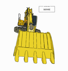 yellow backhoe loader sketch vector image