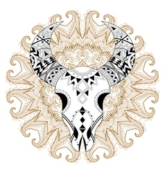 Zentangle stylized animal skull on gypsy mandala vector