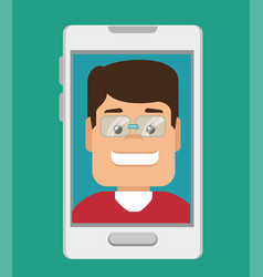 smartphone with person avatar vector image