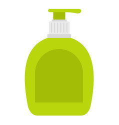 Green bottle with liquid soap icon isolated vector