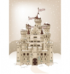 Magic winter castle invitation card vector