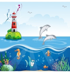 Childrens of the lighthouse and the sea dolphins vector