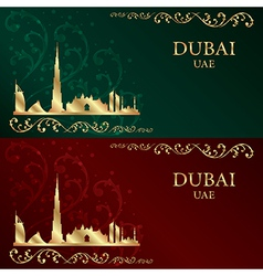 Set of Dubai skyline silhouette vintage background vector image