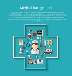 Medicine icons on background with text vector