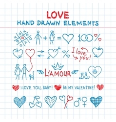 Hand drawn love elements vector