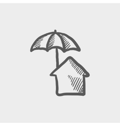 House insurance sketch icon vector