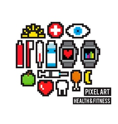 Pixel health and fitness vector