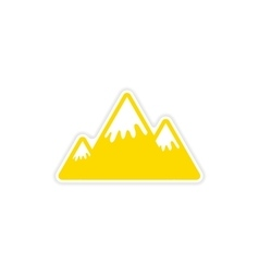 Paper sticker canadian mountain on white vector