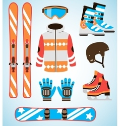 Set of ski and snowboard equipment icons vector