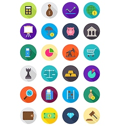 Color round economy icons set vector image