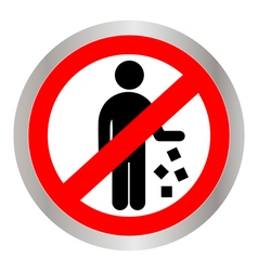 No littering prohibited sign vector