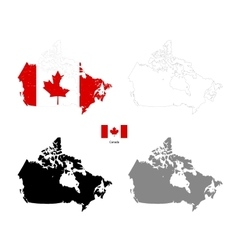 Canada country black silhouette and with flag on vector